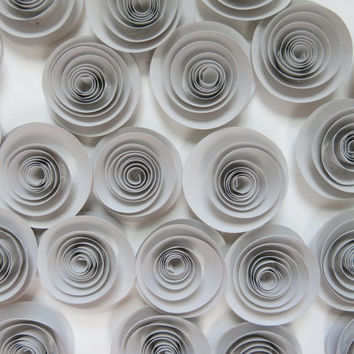 25 Grey Paper Flowers Set Gray Wedding Roses Loose table decoration Birthday Party decorations Bridal Shower Decor floral centerpiece 1.5""