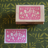 Hand Carved Mounted Amor Stamp of Papel Picado