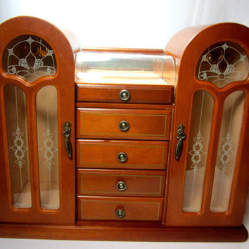 Large Wood Jewelry Box Vintage Wood Jewlery Chest Cream Lining Double Doors