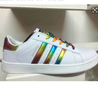 "Summer11""Adidas"" Fashion Shell-toe Flats Sneakers Sport Shoes rainbow laser"