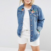 Alice & You Denim Jacket With Bird Embroidery at asos.com