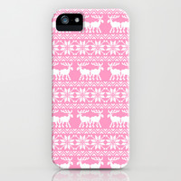 Pink ugly holiday sweater pattern iPhone & iPod Case by RexLambo