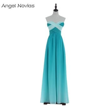 Angel Novias Long Ombre Backless Prom Dresses 2018 Glitter Beaded Cheap Chiffon Party Dress
