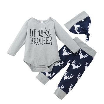 3 Pcs Baby Boy Little Brother Deer Outfit Set