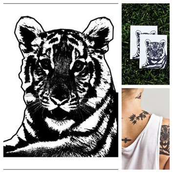 Tiger  temporary tattoo Set of 2 by Tattify on Etsy