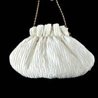 La Rel Pleated Satin Evening Purse White