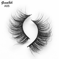 Genailish Mink Lashes 3D Mink Eyelashes Strip Natural False Eyelashes 1 pair Handmade Fake Eye Lash Extension Makeup-A05