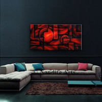 """Geometric Art, 48"""" Red Abstract Painting, Modern Art, Contemporary Art on Canvas Large Artwork Home Decor Wall Hanging, By Nandita Albright"""
