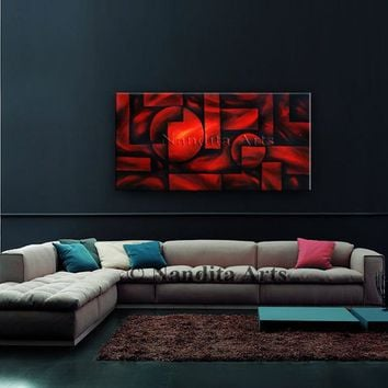 "Geometric Art, 48"" Red Abstract Painting, Modern Art, Contemporary Art on Canvas Large Artwork Home Decor Wall Hanging, By Nandita Albright"