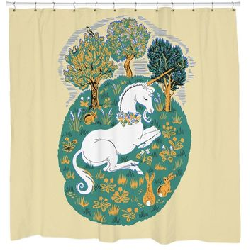 Woodland Friends Unicorn Shower Curtain