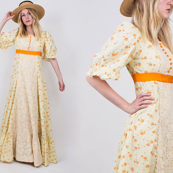 vintage 70s CALICO floral maxi dress prairie lace peasant orange empire waist sundress full sweep
