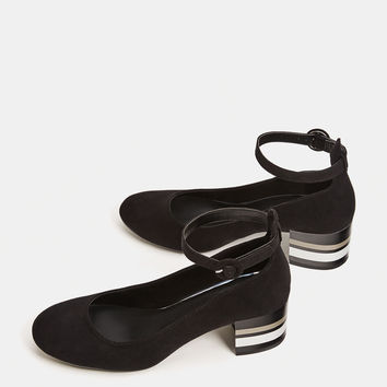 Shiny mid-heel shoes with ankle strap - SHOES - Bershka United Kingdom