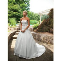 Strapless ball gown satin bridal gown