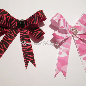 Classic bows, cheer bows, Bows, Girls bows, Pink zebra print Bows, Pink camo bows, Boutique bows, toddler bows, hair bows, bow, school bows