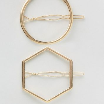 Nylon 2 Pack Geo Hair Slides at asos.com