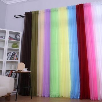 1PC Window Curtains Solid Color for Living Room Bedroom Curtains Window Home Decor 100*200cm