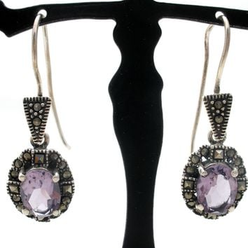 Sterling Silver Dangle Amethyst Earrings Vintage
