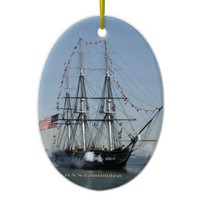 USS Constitution Firing Cannons Ceramic Ornament