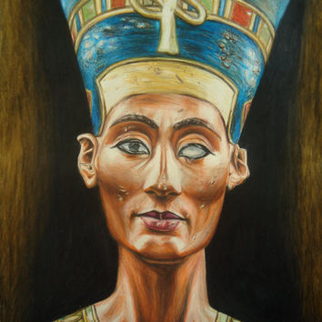 Nefertiti colored pencil drawing - Original Queen Nefertiti artwork - Artwork that fits any Egyptian home decor - Rustic beauty - Home decor