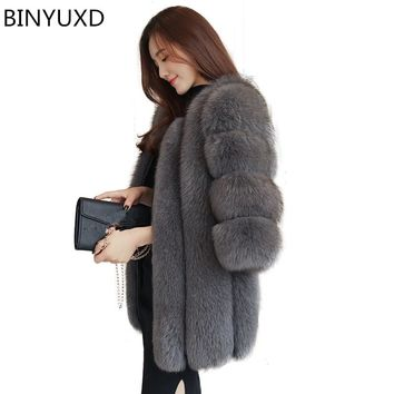 BINYUXD  New Elegant Fake Fox Fur Jacket Women Winter Fashion Faux Fox Fur Jackets Woman Warm Artifical Fox Fur Coats Ladies