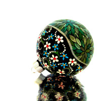 Metallic Green: Hand painted Christmas Ornament Green and Silver