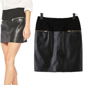 DCKL9 Mosaic PU Leather Zippers Summer Skirt = 5840267521