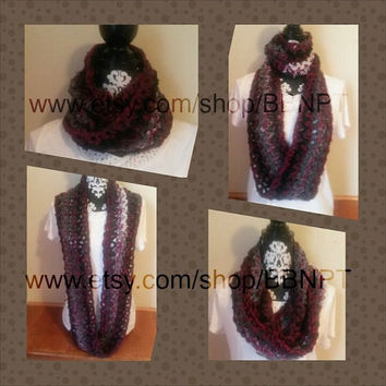Boysenberry and Black to White Variegated Infinity Scarf ( loop, cowl, texture, wrap, winter, steal, wintery, stripe, red, raspberry, ombre)