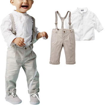 Gentleman Boy Baby T-shirt Top Shirt Bib Pants Overall Outfits Clothing Set NW