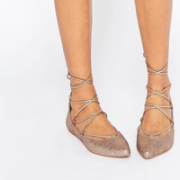 Steve Madden Eleanorr Rose Gold Wrap Ballerina Flat Shoes at asos.com