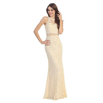 Mock Two Piece Sheath Lace Gown Champagne High Neck Rhinestones