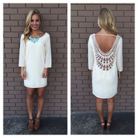 White Long Sleeve Back Cowl Crochet Lace Mini Dress