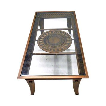 Pre-owned Glass and Carved Metal Coffee Table