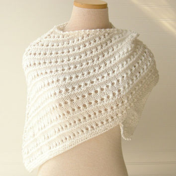 Knit Lace Shawl White Wedding Bridesmaids Custom by WindyCityKnits