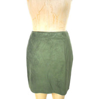 1990s Nicole Miller Collection Suede Skirt / Olive Green / Leather Mini Skirt / Deadstock NWT / Womens Vintage Skirt / Size 8