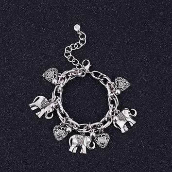 retro carved elephant footwear peach heart bracelet alloy anklet jewelry