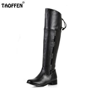 size 34-47 women flat over knee boots ladies riding fashion long snow boot warm winter brand botas footwear shoes P1316