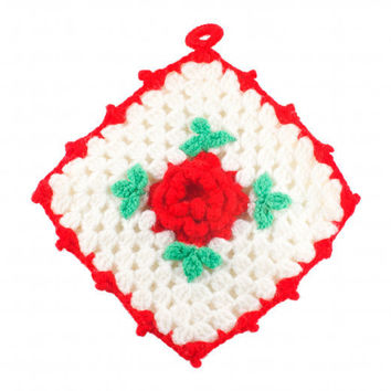 Vintage Granny Square Crochet Knit Flower Wall Hanging Kitsch Floral Home Decor