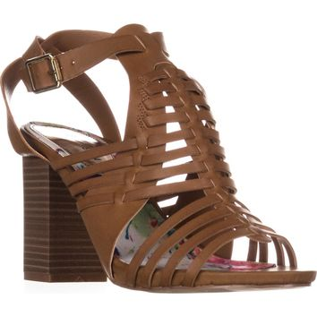 madden girl Remiie Strappy Woven Sandals, Cognac, 8.5 US