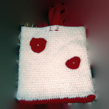 Crochet White Bag with Red Heart and Accents Flower Girl or Gift Bag Free Shipping