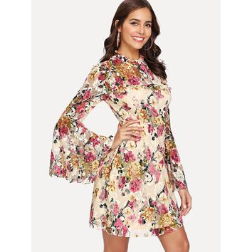 Multicolor Long Sleeve Frill Floral Print Flared Dress