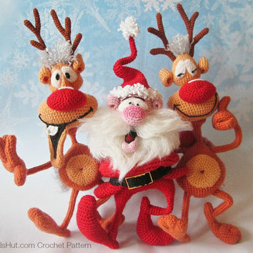 S8 Santa and Reindeers - 2 Amigurumi Crochet Patterns PDF file by Bakaeva Etsy