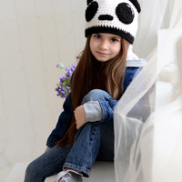 Crochet girls hat, Panda girls hat, Animal childrens hat