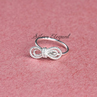 Knot Infinity Silver Ring - Personalize Gift - Bow Ring