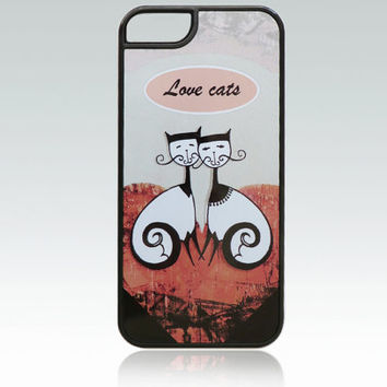 Love Cats iPhone 5 case, iPhone 5s cover, cat iPhone 5 case, heart iPhone 5, 5s cover, unique, cute, illustration, art