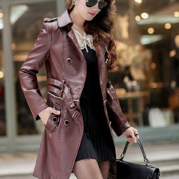 Motorcycle leather jackets autumn 2014 new black leather jacket women long leather coat women leather trench = 1929772612