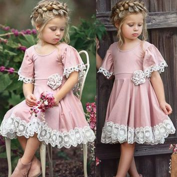 2018 New Cute  Princess Kids Baby Girls Dress Lace Floral Party Dress Easter Casual Dresses