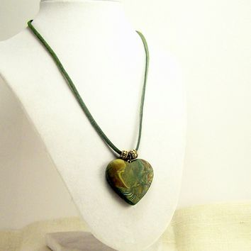 Heart Pendant Necklace, Artisan Handmade Polymer Clay Necklace, Everyday Wear Fun Jewelry
