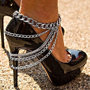 Punk Strong Character Chain Tassels Shoes [6937891079]