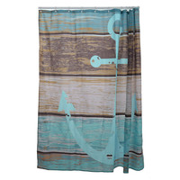 Waterproof  Mildewproof Polyester Shower Curtain Nautical Anchor Greenery Trees Spanish House Bathroom Decor With Hooks