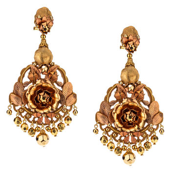 Golden Metal Flower Pendant Earrings by DUBLOS